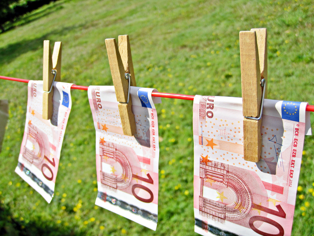 Money Laundering - Euros - Images of Money
